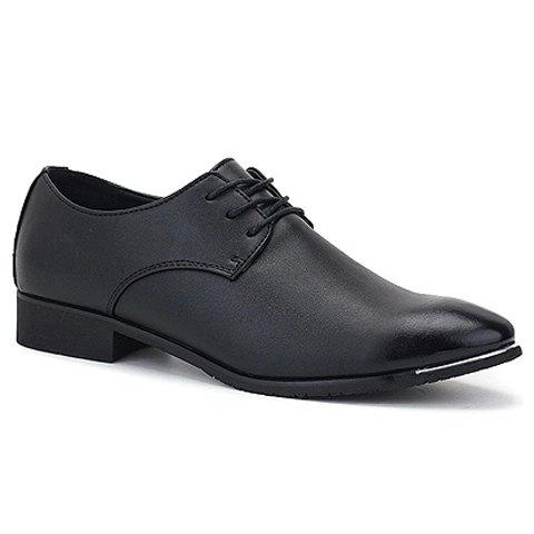 Retro Solid Color and Lace-Up Design Formal Shoes For Men - BLACK 43