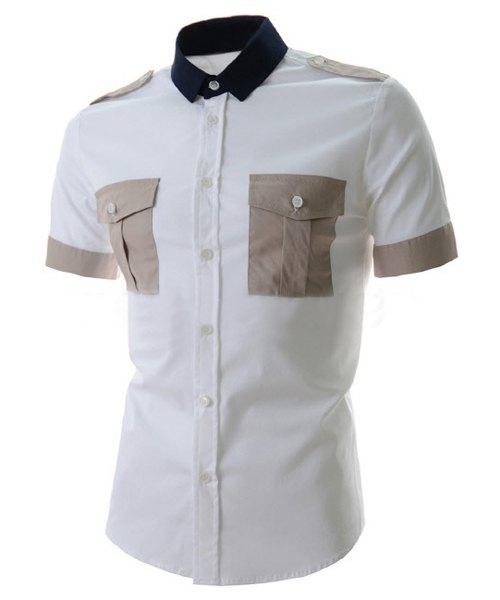 Trendy Epaulet Design Color Splicing Shirt Collar Short Sleeve Slimming Men's Polyester Shirt