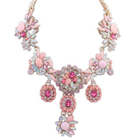 Flower Rhinestone Pendant Necklace - PINK