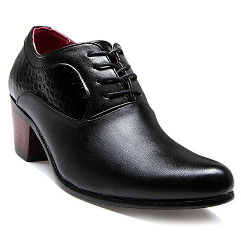 Fashionable Stone Pattern and Black Design Formals Shoes For Men - BLACK 41