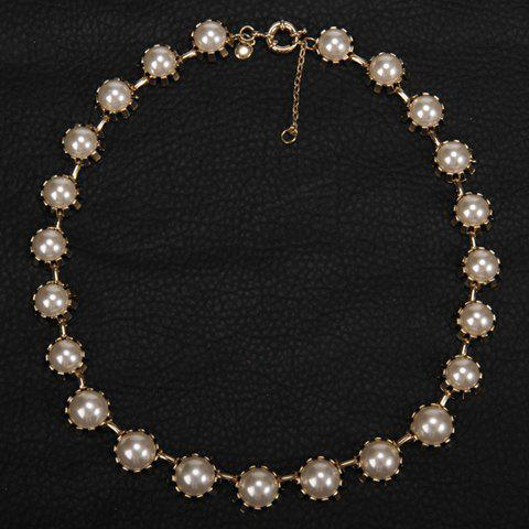 Fashionable Faux Pearl Decorated Necklace For Women - WHITE