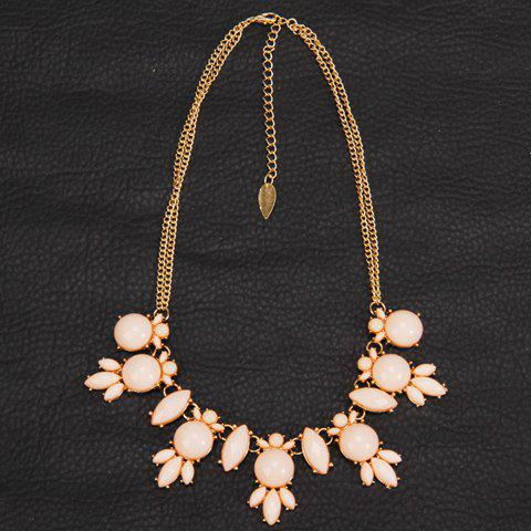 Faux Gem Decorated Round Shape Necklace - PINK