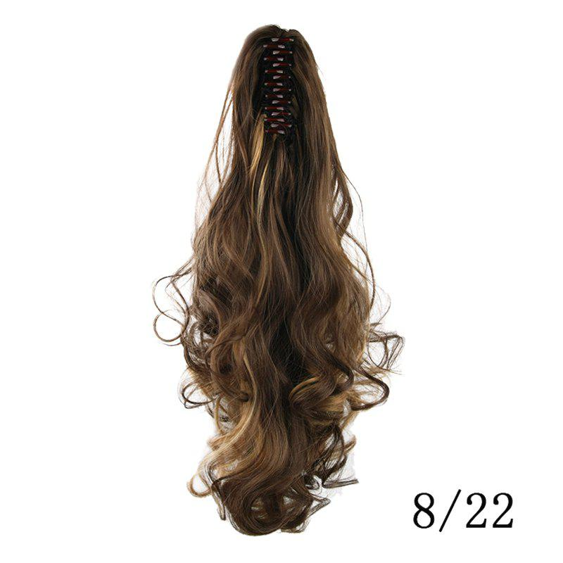 Western Style Fluffy High Temperature Fiber Long Loose Wavy Women's Claw Clip In Ponytail Hair Extension - /