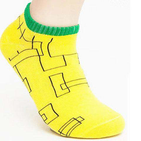 Pair of Stylish Labyrinth Pattern Color Block Socks For Men - RANDOM COLOR