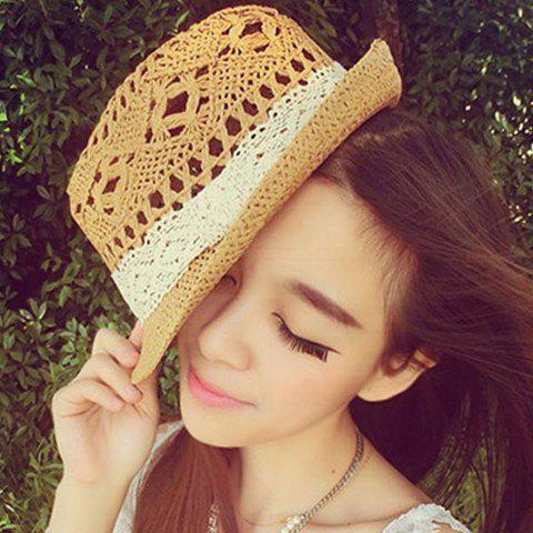 Cute Openwork Design White Lace Ribbon Decorated Straw Hat For Women - LIGHT COFFEE