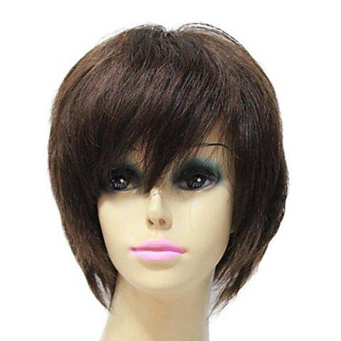 Towheaded Capless Side Bang Brown Short Yaki Straight Fashion Women's Synthetic Hair Wig - BROWN