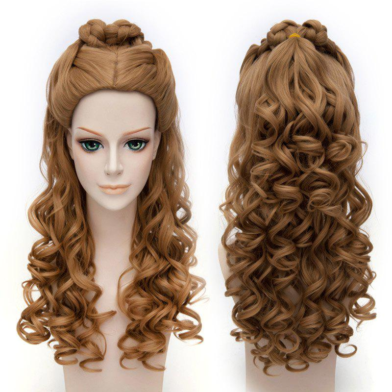 Trendy Long Wavy Synthetic Brown Fluffy Charming Cinderella Cosplay Wig