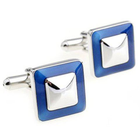 Pair of Vogue Colorful Hem Glitter Alloy Square Cufflinks For Men
