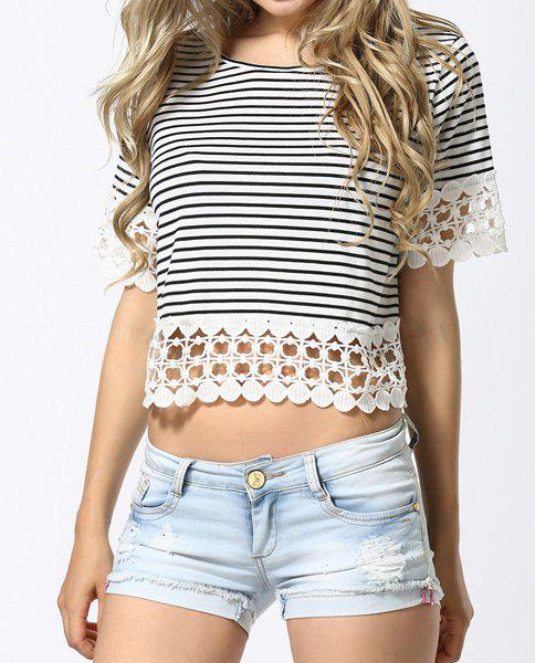 Crochet Hem Striped T-Shirt - STRIPE M