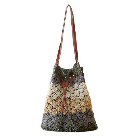 Fashion Weaving and Color Matching Design Shoulder Bag For Women - GREEN