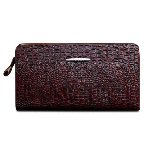 Stylish Zipper and Crocodile Print Design Wallet For Men - DEEP BROWN