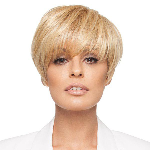 Europe Style Golden Blonde Full Bang Short Straight Casual Women's Human Hair Wig -