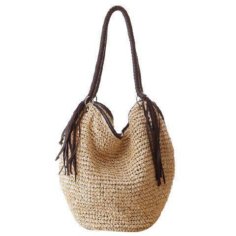 Sweet Weaving and Fringe Design Shoulder Bag For Women - OFF WHITE