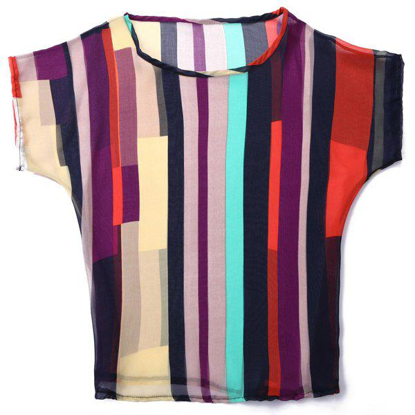 Casual Women's Jewel Neck Short Sleeve Striped Chiffon Blouse - COLORMIX S