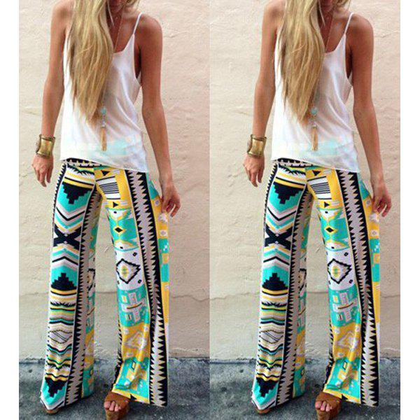 Stylish Mid-Waisted Loose-Fitting Geometric Print Womens Exumas PantsWomen<br><br><br>Size: S<br>Color: COLORMIX
