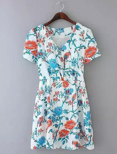 Sexy Short Sleeve V-Neck Furcal Floral Print Women's Dress