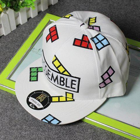 Fresh Style Little Colorful Grid Print With Embroidered Letter Baseball Cap For Women - WHITE