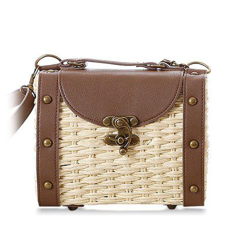 Retro Weaving and Rivets Design Splice Shoulder Bag For Women - OFF WHITE