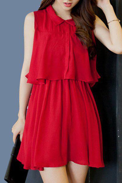 Sweet Sleeveless Flat Collar Solid Color Chiffon Women's Dress - WINE RED M
