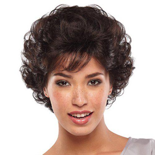 Fluffy Attractive Side Bang Short Deep Wavy Black Brown Heat Resistant Women's Synthetic Wig
