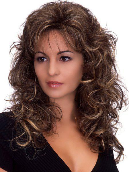 Outstanding Charming Long Deep Wavy Towheaded Mixed Color Women's Synthetic Wig