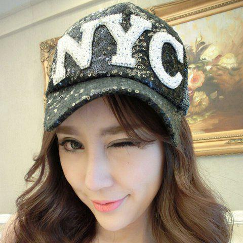 Vogue Full Glitter Rivet Faux Pearl Letter Decorated Baseball Cap For Women - BLACK