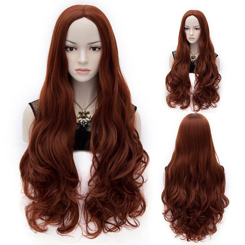 Trendy Synthetic Reddish Brown Long Wavy Centre Parting Charming Women's Fluffy Wig