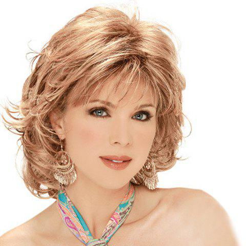Refreshing Side Bang Towheaded Natural Wave Short Capless Synthetic Wig For Women - COLORMIX