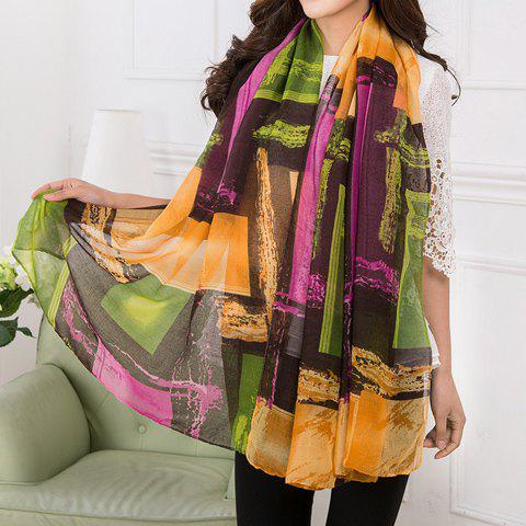 Chic Color Block Mixed Pattern Women's Voile Scarf - RANDOM COLOR