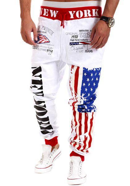 Fashion Lace-Up Stars Stripes Letters Print Loose Fit Beam Feet Mens Polyester SweatpantsMen<br><br><br>Size: M<br>Color: WHITE