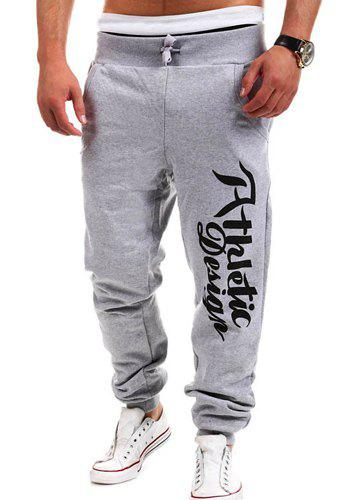 Fashion Lace-Up Letters Print Loose Fit Beam Feet Men's Polyester Sweatpants - LIGHT GRAY M