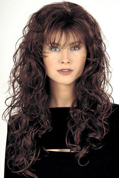 Capless Attractive Charming Full Bang Fluffy Long Deep Wavy Heat Resistant Synthetic Wig - COLORMIX