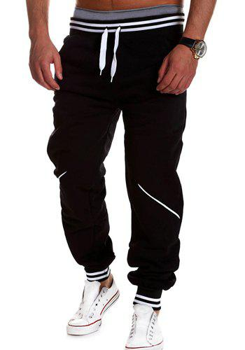 Fashion Lace-Up Color Block Rib Splicing Loose Fit Beam Feet Men's Polyester Sweatpants 130488109