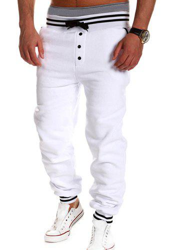 Fashion Lace-Up Button Embellished Rib Splicing Loose Fit Beam Feet Men's Polyester Sweatpants - WHITE M
