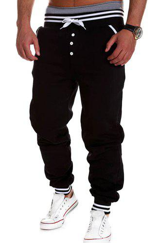 Fashion Lace-Up Button Embellished Rib Splicing Loose Fit Beam Feet Men's Polyester Sweatpants 130489611