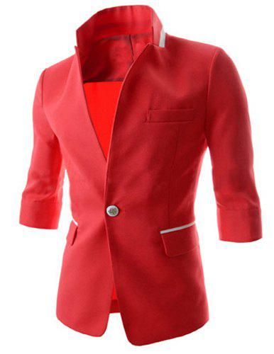 Fashion Color Block Stand Collar 3/4 Sleeve Slimming Thin Men's Polyester Blazer - RED M