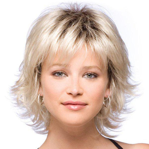 Endearing Side Bang Slightly Fluffy Wavy Short Synthetic Wig For Women - COLORMIX