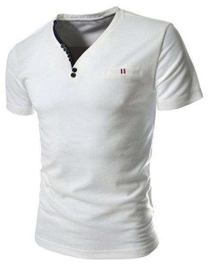 Fashion Button Embellished Color Splicing V-Neck Short Sleeve Slimming Men's Polyester T-Shirt - WHITE L