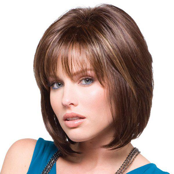 Exquisite Side Bang Soft Glossy Short Straight Synthetic Capless Wig For Women - COLORMIX