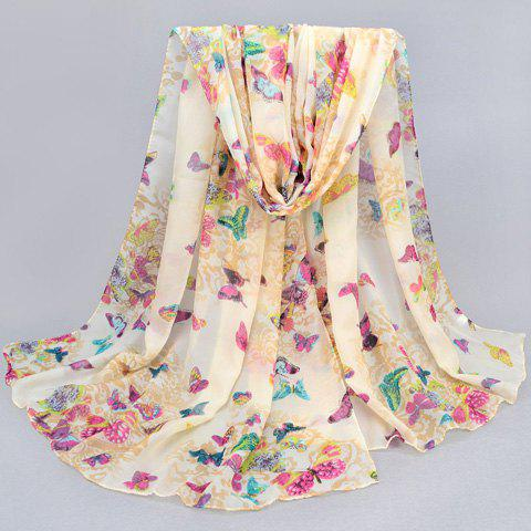 Chic Various Flying Butterflies Pattern Color Block Women's Scarf - PURPLE