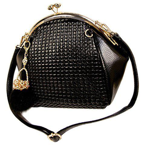 Fashion Hasp and Pendant Design Black Shoulder Bag For Women
