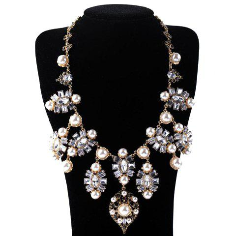 Graceful Faux Pearl Decorated Oval Shape Pendant Necklace For Women  sweet diamante flower pendant faux pearl decorated necklace for women