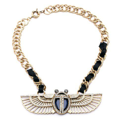 Charming Rhinestone Embellished Wing Shape Asymmetric Knitted Necklace For Women - BLACK/GOLDEN