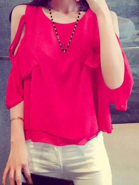 Stylish Scoop Neck Off-The-Shoulder Solid Color Half Sleeve Chiffon Blouse For Women - ONE SIZE(FIT SIZE XS TO M) RED