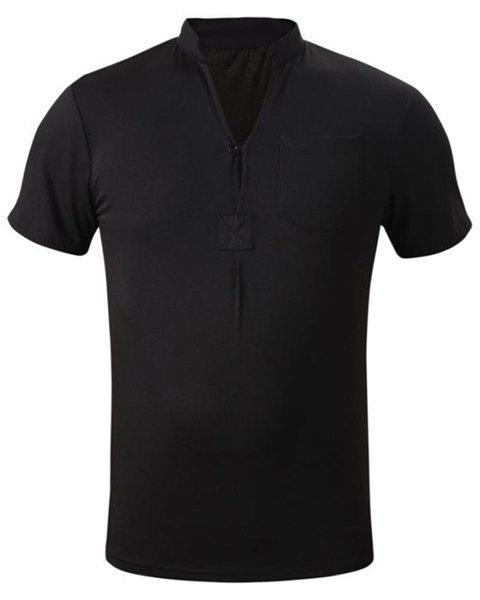 Fashion Fitted Button Design Stand Collar Short Sleeves One Pocket Solid Color Men's T-Shirt - BLACK 2XL