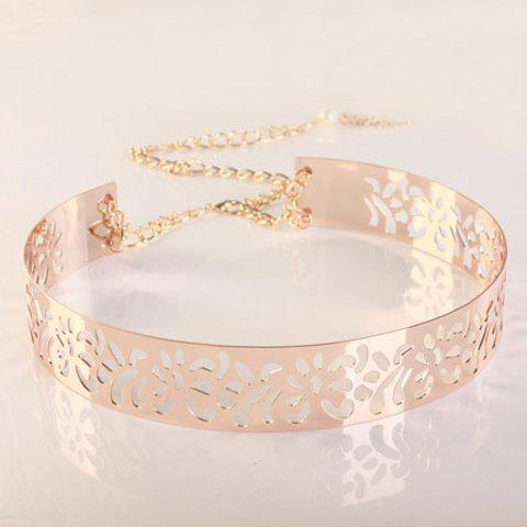 Chic Faux Pearl Chain Tassel Openwork Women's Alloy Waistband - ROSE GOLD