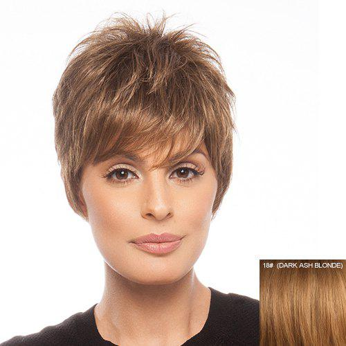 Stylish Human Hair Elegant Fluffy Side Bang Short Layered Straight Women's Capless Wig -
