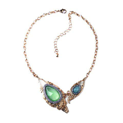 Trendy Classic Asymmetric Faux Gem Inlaid Necklace For Women - BLUE/GOLDEN