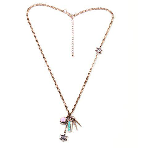 Classic Rhinestone Star Rivet Necklace For Women
