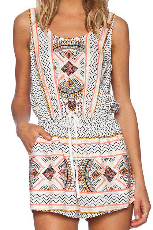 Apricot Sleeveless Tribal Romper - WHITE S
